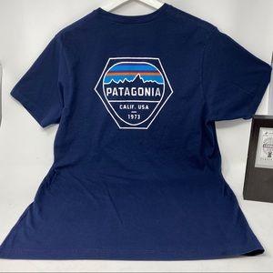 Patagonia Dark Blue Mens Graphic Pocket T-shirt